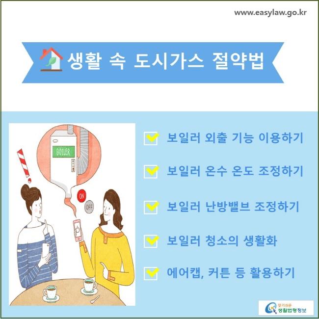 생활 속 도시가스 절약법 보일러 외출 기능 이용하기, 보일러 온수 온도 조정하기, 보일러 난방밸브 조정하기, 보일러 청소의 생활화, 에어캡, 커튼 등 활용하기